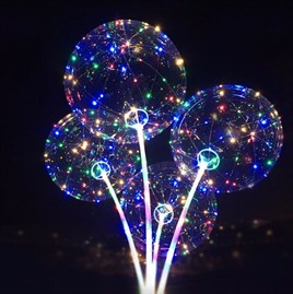 3 M LED ŞEFFAF BALON ÇUBUKLU FULL SET ISIKLI BALON